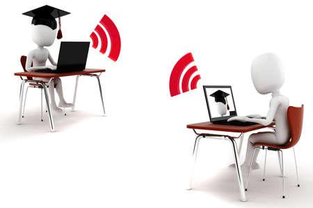 3d man e-learningm isolated on white background Stock Photo - 9559231