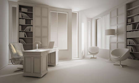 3d clay render of a luxury office, interior design Stock Photo - 9559279