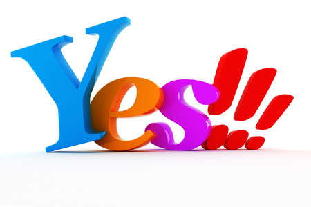 3d shiny colorful YES text photo