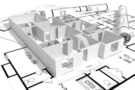 floor plan: 3d home plans concept Stock Photo