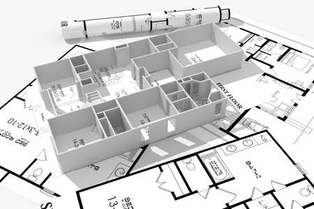 architectural elements: 3d home plans concept Stock Photo