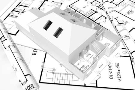 3d home plans concept Stock Photo - 9559270