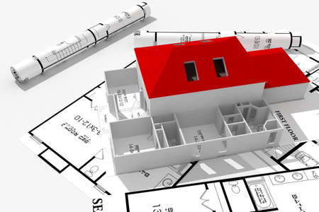 small business building: 3d home plans concept Stock Photo