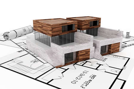 3d modern house, and blueprints, isolated on white photo