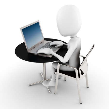 3d man working at his laptop Stock Photo - 9559253