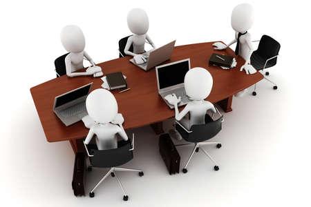 personas comunicandose: reuni�n de negocios de hombre 3D
