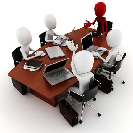 white color worker: 3d man business meeting