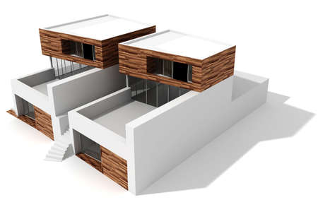 model home: 3d modern house, on white background
