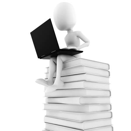 3d man sitting on a pile of books  working at his lapop photo