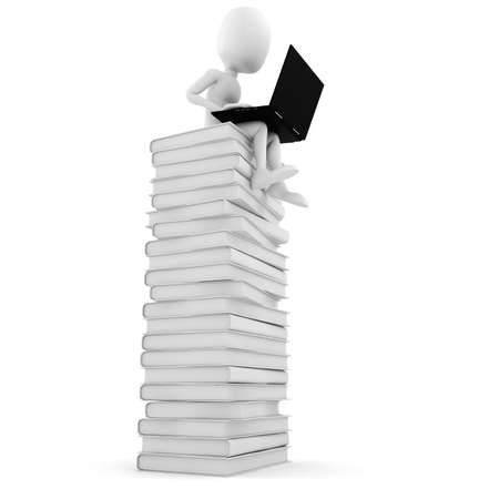 man with laptop: 3d man sitting on a pile of books  working at his lapop Stock Photo