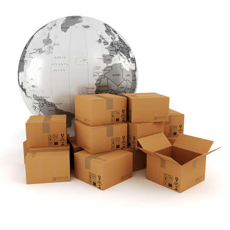 ship package: 3d global business commerce concept
