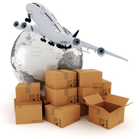 distribution board: 3d global business commerce concept