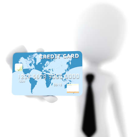 3d man showing his new business card photo
