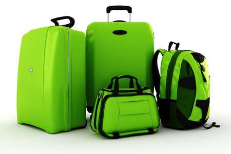 3d luggage isolated on white background photo