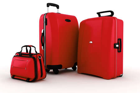 trolley case: 3d luggage isolated on white background