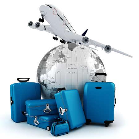 business trip: 3d world wide tourism concept