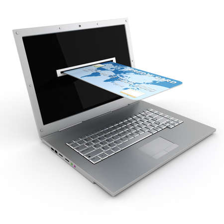 technology transaction: 3d laptop and credit card, E-commerce concept