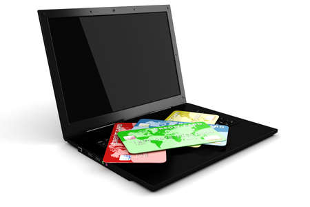 3d laptop and credit card, E-commerce concept photo