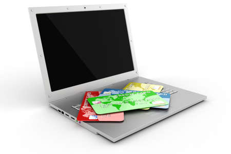 sell online: 3d laptop and credit card, E-commerce concept