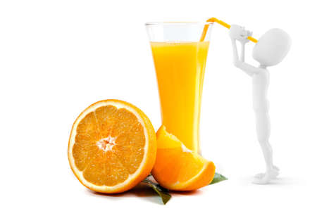 3d man drinking orange juice Stock Photo