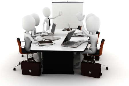 gente comunicandose: reuni�n de negocios de hombre 3D
