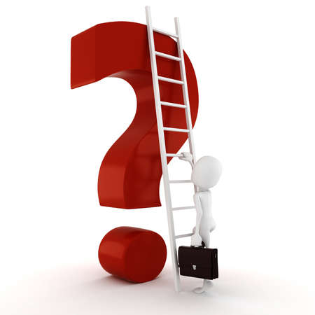 3d man and big red question mark Stock Photo - 9734828