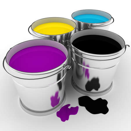 3d paint buckets on white background Stock Photo - 9734846