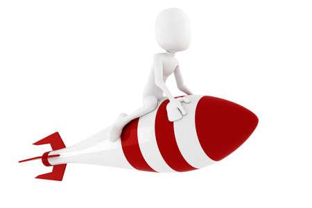 3d man riding a rocket, on white Stock Photo - 9734791