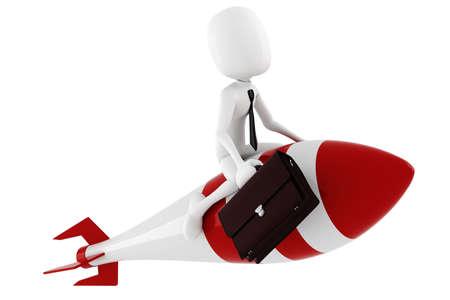 cohetes: hombre 3D montando un cohete, en blanco