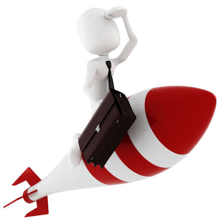 3d man riding a rocket, on white photo