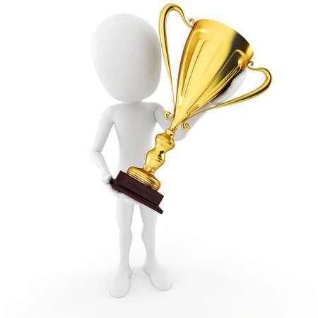 winner man: 3d man winner holding a big shiny tropthy Stock Photo