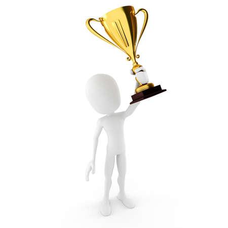 3D ganador de hombre con un gran tropthy brillante