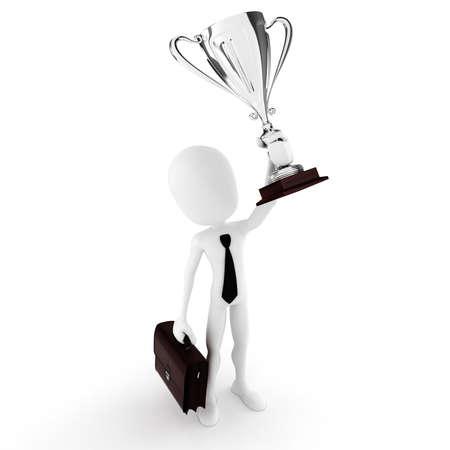 winnings: 3d man winner holding a big shiny tropthy Stock Photo