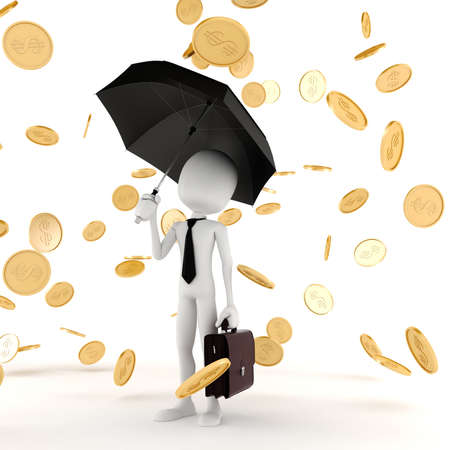 rich people: 3d man business man in the money rain Stock Photo