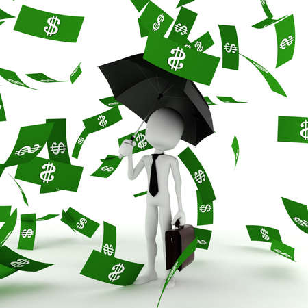 falling money: 3d man business man in the money rain Stock Photo