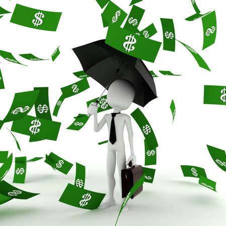 euro coins: 3d man business man in the money rain Stock Photo
