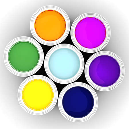 3d colorful paint buckets on white background photo