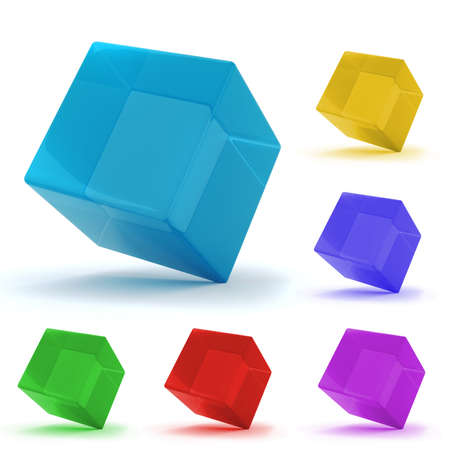 3d colorful cubes, on white background photo