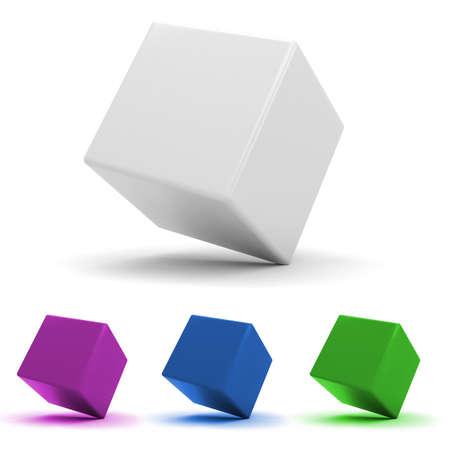 cubo: 3D cubos coloridos, sobre fondo blanco