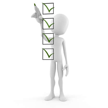 customer survey: 3d man and check list isolated on white background