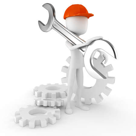 3d man worker holding a big wrench, isolated on white background Stock Photo - 9980918