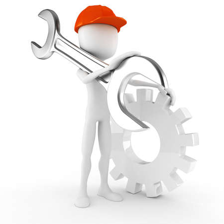 3d man worker holding a big wrench, isolated on white background Stock Photo - 9980912