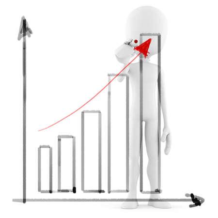 3d man business man drawing a   graph Stock Photo - 9980901