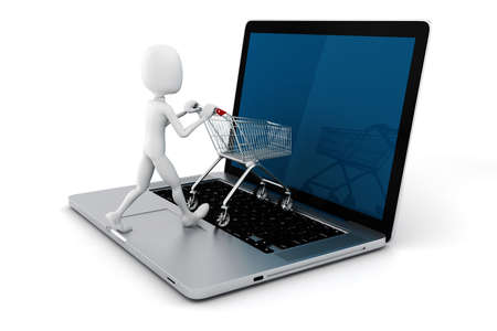 retail equipment: 3d man and laptop online shopping , on white background Stock Photo