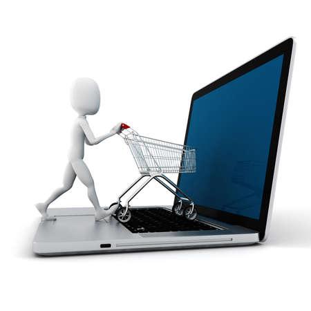 3d man en laptop online winkelen, op een witte achtergrond