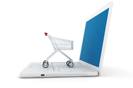 3d laptop and shoppping cart, online shopping concept photo