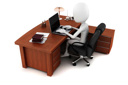 3d man working at his desk Stock Photo - 10029277