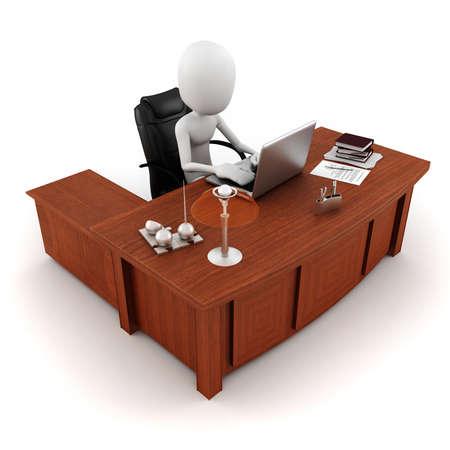 personas comunicandose: hombre 3D trabajando en su escritorio Foto de archivo
