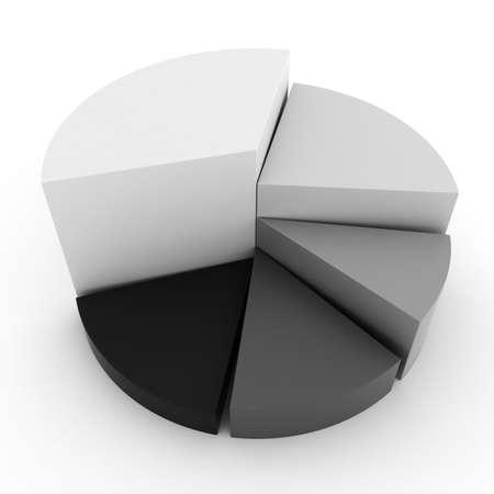 graficas de pastel: gr�fico de negocios coloridos 3D, sobre fondo blanco