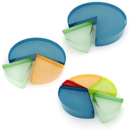 3d colorful business graph, on white background photo